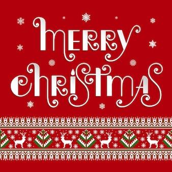 Merry christmas card z symbolami zimowych i tekst wesołych świąt.