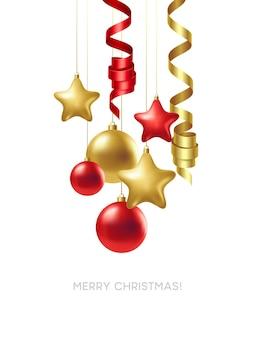 Merry christmas card ze złotymi i czerwonymi kulkami. ilustracja wektorowa eps10