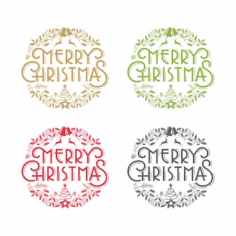 Merry christmas doodle ornament
