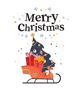 Merry christmas gratulacje projekt karty z saniami pełnymi prezentów świątecznych i zdobione jodły na białym tle. ilustracja kreskówka płaski wektor. na banery, zaproszenia, opakowania, ulotki.