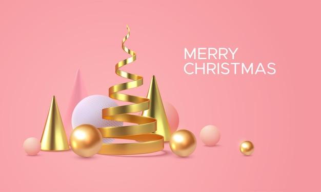 Merry christmas holiday znak z abstrakcyjnymi kształtami 3d na miękkim różowym tle