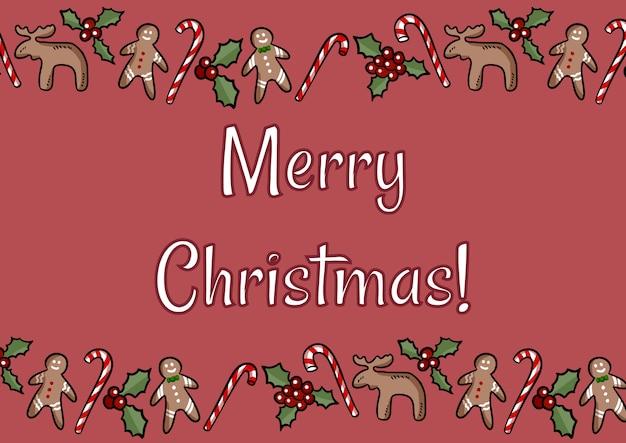 Merry christmas holly i imbir ciasteczka pocztówka