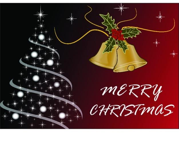 Merry christmas karty z drzewa i dzwony