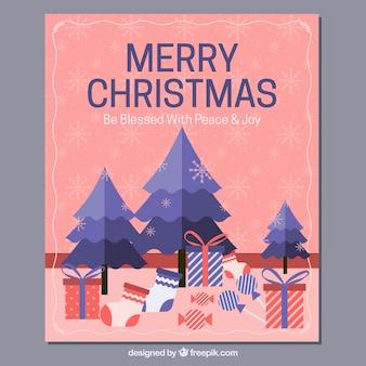 Merry christmas karty z drzewa i prezenty