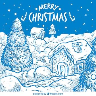 Merry christmas karty z zaśnieżonej miejscowości