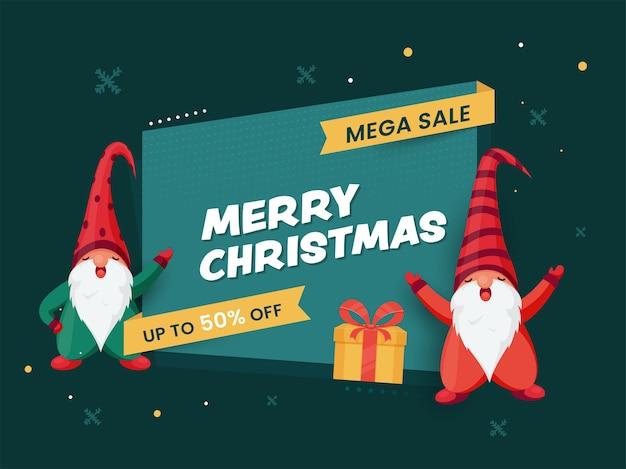 Merry christmas mega sale plakat oferta rabatowa, pudełko upominkowe i dwie postaci z kreskówek krasnali na turkusowym zielonym tle.