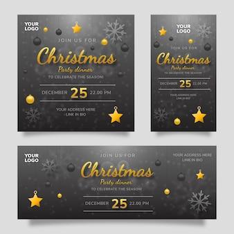 Merry christmas party dinner social media szablon ulotka z czarnym żółtym tłem gradientu
