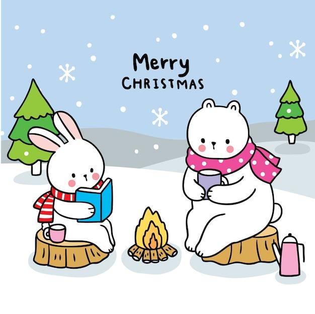 #merry christmas ręcznie narysuj kreskówka królika i niedźwiedzia polarnego w lesie.
