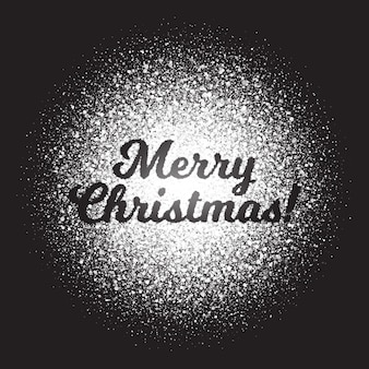Merry christmas text white shimmer light particles