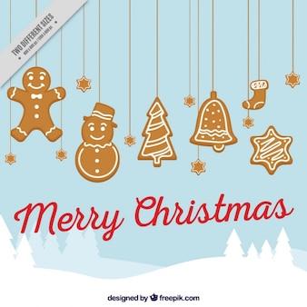 Merry christmas tła z ozdoby z piernika