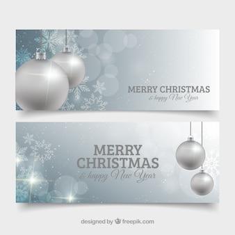 Merry christmas transparenty z srebrnymi bombkami