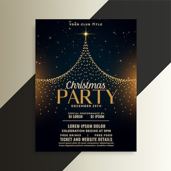 Merry christmas tree party ulotka szablon karty
