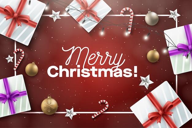 Merry christmast z dekoracją ramki i prezentów