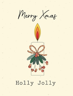 Merry xmas holly jolly lettering illustration design