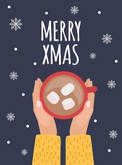 Merry xmas tło z gorącą czekoladą.