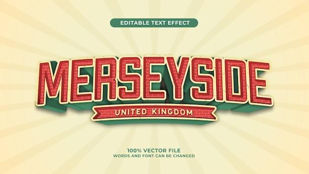 Merseyside efekt tekstowy 3d w stylu retro vintage