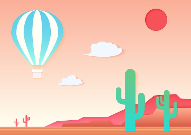 Mesa, kaktus i gorący balon na pustyni. aplikacja wycinana z papieru w stylu sztuki krajobrazu.
