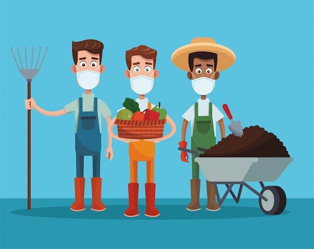 Męscy rolnicy jest ubranym medyczną maski scenę