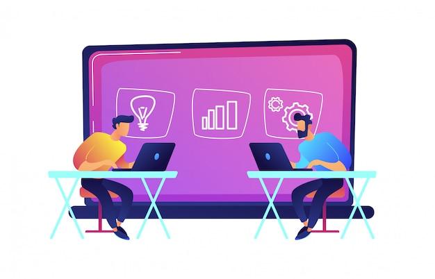 Męscy ucznie uczy się online wektorową ilustrację z laptopami.