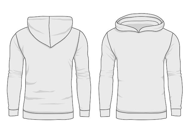 Męska bluza z kapturem, szablon bluzy. realistyczna makieta odzieży wierzchniej z przodu iz tyłu.