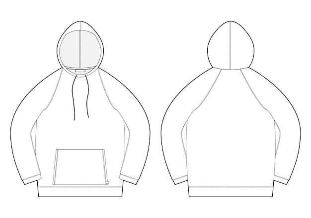 Męska bluza z kapturem ze szkicem technicznym. widok z przodu i tyłu. rysunek techniczny odzieży męskiej.