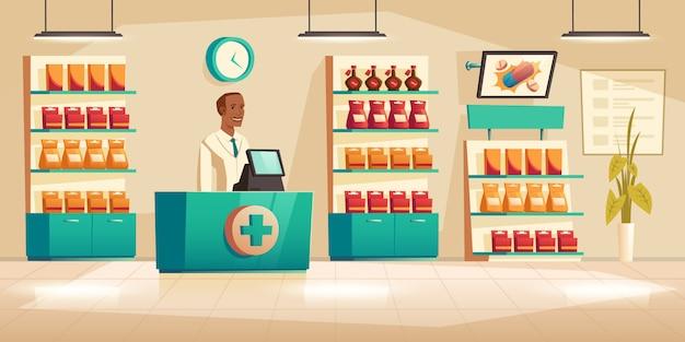 Męska farmaceuta przy kontuarem w aptece