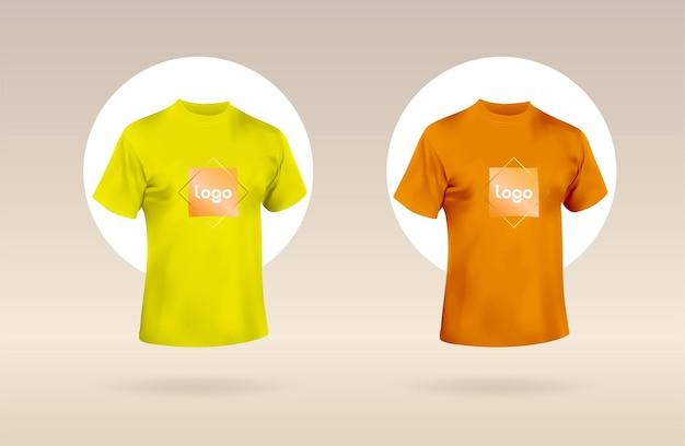 Męska krótka koszulka z okrągłym dekoltem przód fioletowo-różowej koszulki z twoim logo mockup