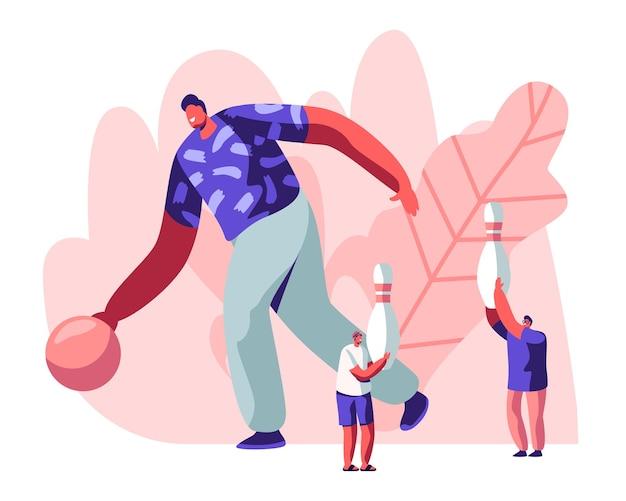 Męska postać grająca w kręgle, ogromny mężczyzna rzuca piłką, drobne osoby poruszające się ze szpilkami.