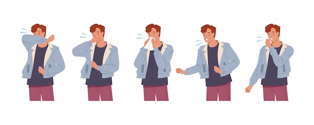 Męska postać kicha i kaszle dobrze i źle. mężczyzna kaszel w ramię, łokieć, tkanki. zapobieganie wirusom i infekcjom. ilustracja wektorowa w stylu płaski