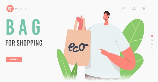 Męska postać kupowania żywności w szablonie strony docelowej wielokrotnego użytku do pakowania ekologicznego. uśmiechnięty klient prezentujący papierową torbę na produkty. ekologia ochrona, recykling. ilustracja wektorowa kreskówka ludzie