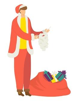 Męska postać nosi strój świętego mikołaja, świąteczny nastrój noworoczny
