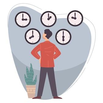 Męska postać patrząca na zegary wiszące na ścianie. zarządzanie biznesem i czasem. pośpiech pracownika lub szefa, odliczanie lub wyznaczanie terminu. profesjonalny menedżer z zegarkami. wektor w stylu płaskiej