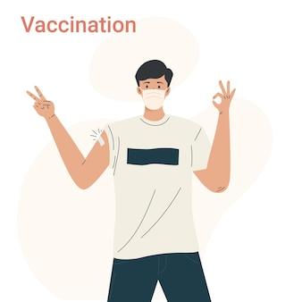 Męska postać po otrzymaniu szczepionki