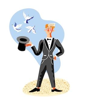 Męska postać showmana iluzjonisty w czarnym fraku wykonująca cyrkowe sztuczki z kapeluszem i gołębiami