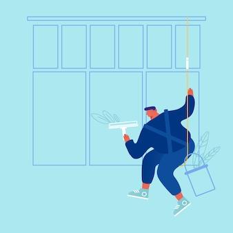 Męska postać ubrana w niebieski kombinezon, jednolite mycie okna z wycieraczką wiszącą na linach. mężczyzna zawodowy pracownik firmy sprzątającej proces roboczy usługi czyszczenia kreskówka mieszkanie