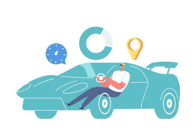 Męska postać w goglach vr siedząca w wirtualnej grze samochodowej, nauka jazdy za pomocą technologii rozszerzonej rzeczywistości. symulacja wyścigów, wrażenia kierowcy, nowoczesne innowacje. ilustracja kreskówka wektor