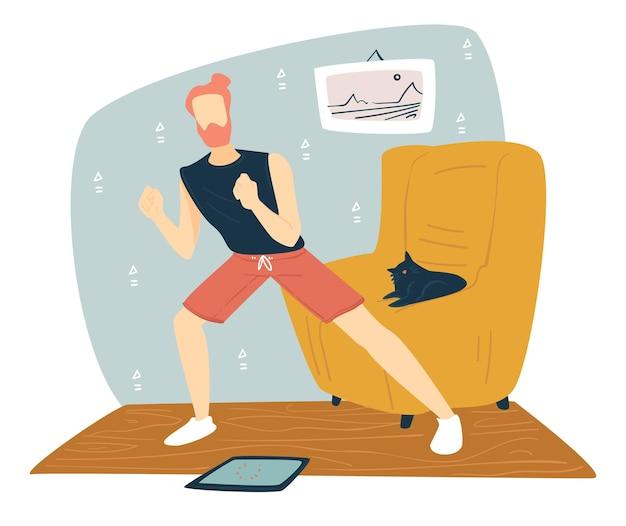 Męska postać wykonująca ćwiczenia fizyczne w domu, mężczyzna w stroju sportowym, który traci nadwagę i utrzymuje się. postać prowadząca zdrowy tryb życia podczas kwarantanny koronawirusa. wektor w stylu płaskiej