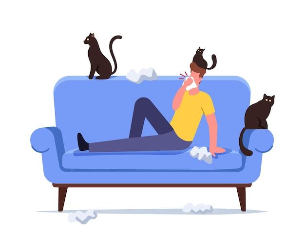 Męska postać z alergią na kota, kichanie z chusteczkami rozpraszającymi wokół i zwierzętami. reakcja alergiczna na koncepcji futra zwierzęcego. mężczyzna cierpi na objawy kaszlu i astmy w domu. ilustracja kreskówka wektor