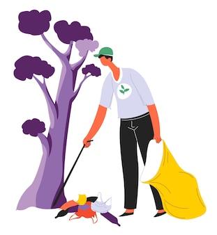 Męska postać z organizacji wolontariackiej zbierającej śmieci w parku lub lesie. wolontariusz zbiera śmieci, odpady przy drzewach. ekologiczna ochrona i ochrona przyrody, wektor w stylu płaskiej