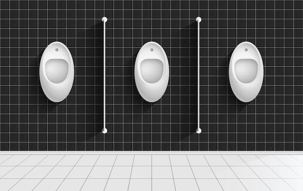 Męska toaleta publiczna męska toaleta współczesne wnętrze toalety bez ludzi