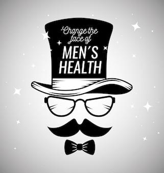 Męska twarz w kapeluszu, wąsach i okularach