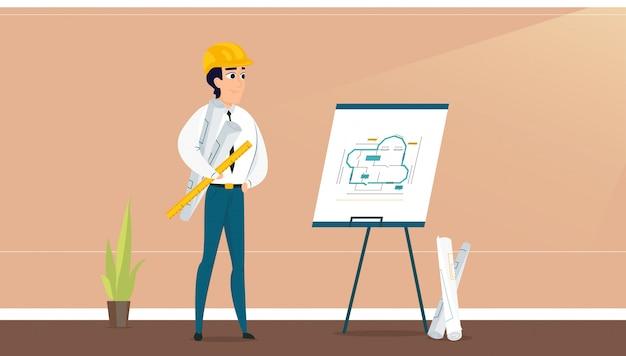 Męski architekt egzamininuje pokoju projekta plan