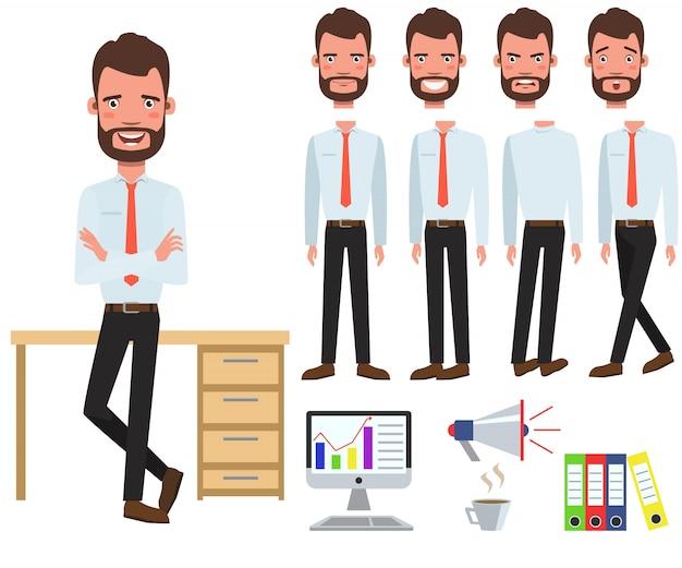 Męski biurowy kierownik przy biurka charakterem ustawiającym z różnymi pozami
