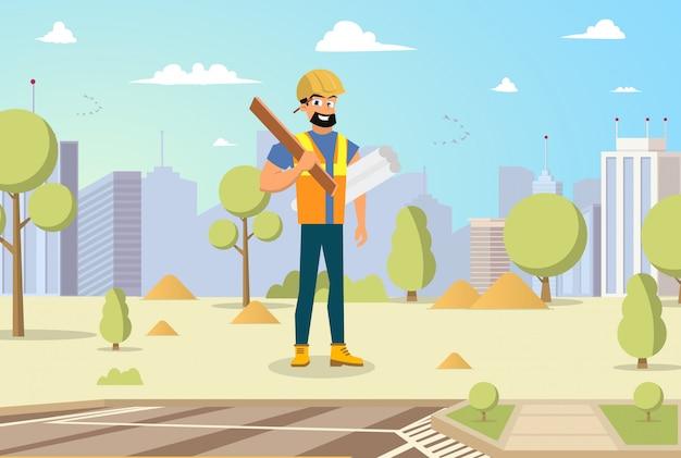 Męski budowniczy trzyma projekty i narzędzie w ręce