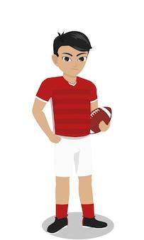 Męski charakter rugby gracz trzyma piłkę