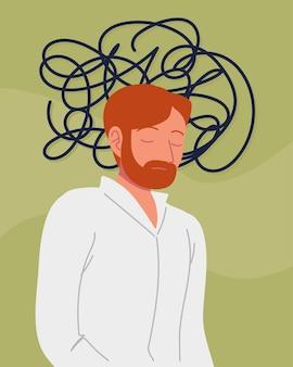Męski charakter z problemami psychicznymi