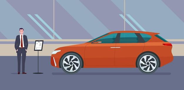 Męski dealer samochodowy sprzedaje samochód typu suv w salonie samochodowym. ilustracja.