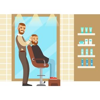 Męski fryzjer obsługujący klienta. wnętrze salonu fryzjerskiego lub fryzjerskiego.