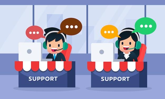 Męski i żeński centrum telefoniczne avatar jest ubranym słuchawki pracuje laptopem, poparcie klient