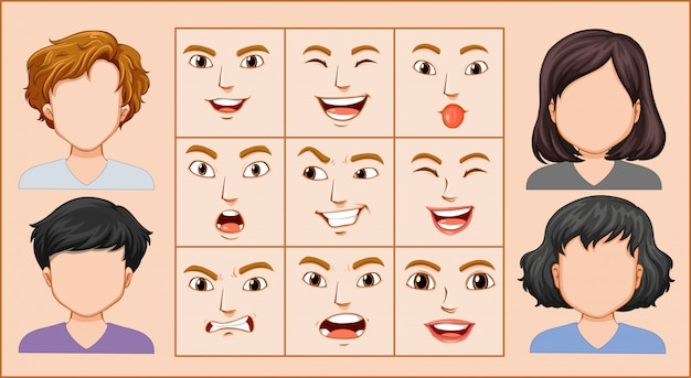Męski i żeński wyraz twarzy